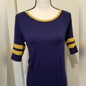 LuLaRoe Dresses - LuLaRoe Julia Blue Yellow T Shirt Dress Striped